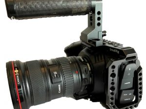 Blackmagic Pocket Cinema Camera 4K with cage lens and speedbooster