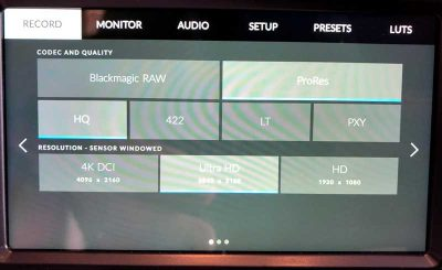 Blackmagic Pocket Cinema Camera 4K menu